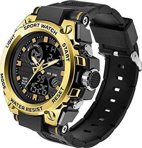 Herren Sport Uhren Militär Outdoor Große Armbanduhr Digital Analog Zwei Zeitzonen LED Kalender Männer Jungen