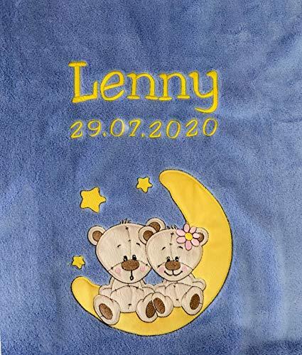 KIDDI-MEDIA Babydecke Bestickt mit Name und Geburtsdatum/kuschelig weich / 1A Qualität nach Ökotex 100 Standard - farbecht (Azurblau - BÄREN auf MOND)