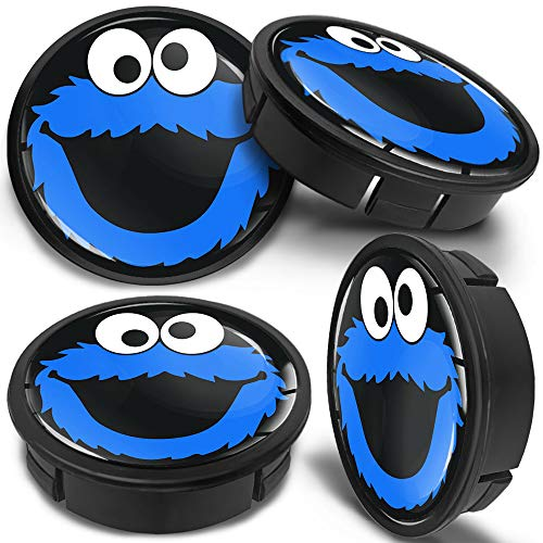 SkinoEu 4 x 60mm Universal Schwarz Blau Elmo Cookie Alufelgen Nabenkappen Felgen Kappen Felgendeckel Radkappen Radnabendeckel Nabendeckel Felgenkappen CX 41