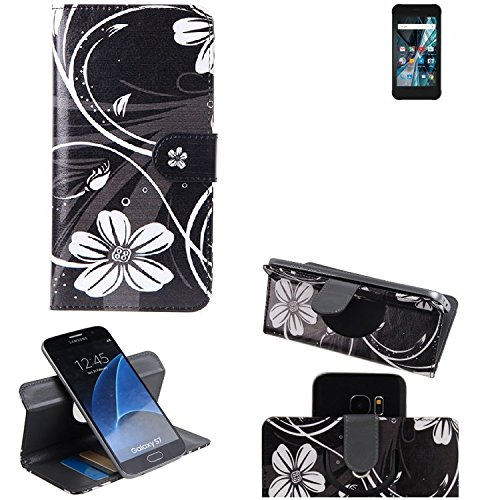 K-S-Trade® Schutzhülle Für Archos Sense 47X Hülle 360° Wallet Case Schutz Hülle ''Flowers'' Smartphone Flip Cover Flipstyle Tasche Handyhülle Schwarz-weiß 1x