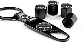 Miniclue Black/White Checkered Style Wheel Tire Valve Stem Cap Covers Screw w/Keychain for Mini Cooper R50 R53 R56 R55 F54 F55 F56 R55 R52 R57 R58 R59 R60 R61 JCW