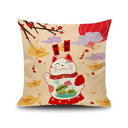 qiufeng Estilo japonés Fortune Cat Funda de cojín Funda de Almohada Cojines para sofá Fundas de Almohada Fundas de Almohada de Lino de algodón Decoración para el hogar Rojo Beige 2pcs 45 * 45cm