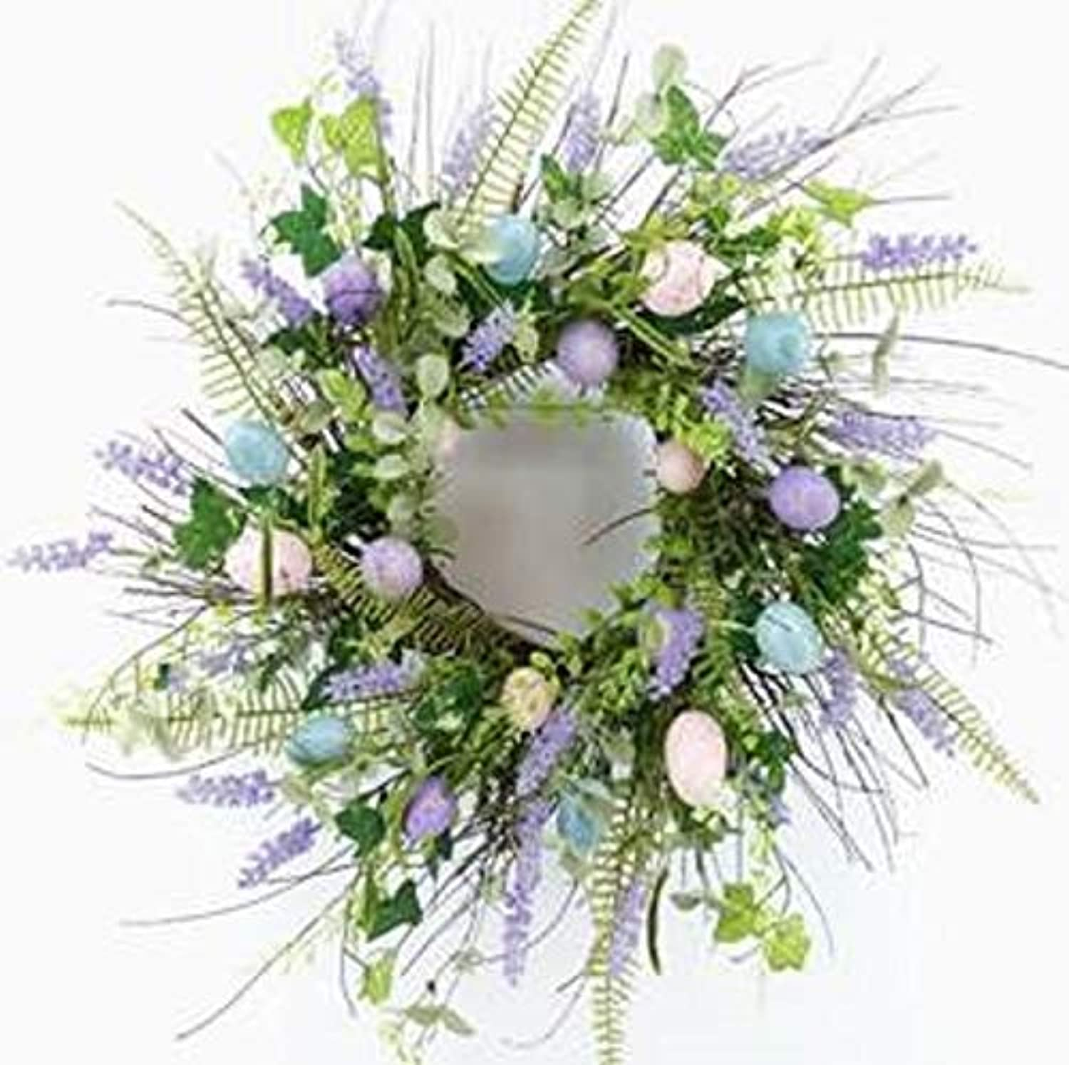 Wreaths For Door Wild Grass and Egg Spring Wreath for Front Door with Lavender Buds Pastel bluee Pink Purple Plastic Eggs Ferns Twig Base Farmhouse Easter Wreath Decor 21 Inch