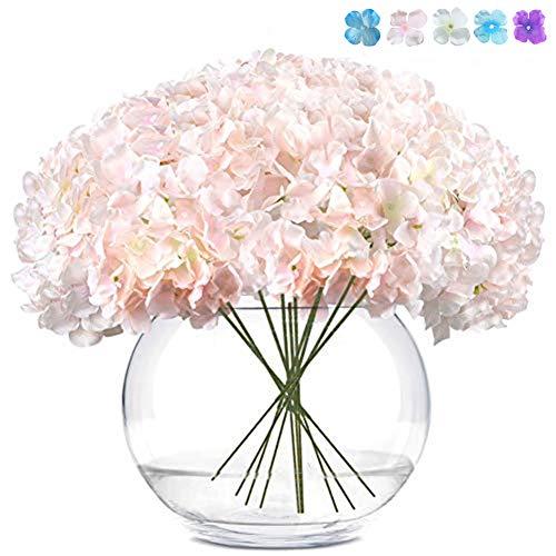 LKCELL Künstlich Blumen Hortensie 10Pcs Künstlich Hortensie Blüten künstliche Hortensien Köpfe mit Stielen Blumenstrauß Arrangieren Familie Hochzeit Garten Blume Dekoration Hortensie