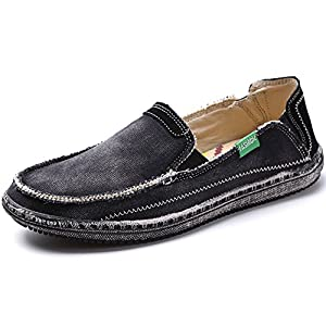 Men's Slip on Deck Shoes Canvas Loafer Vintage Flat Boat Shoes