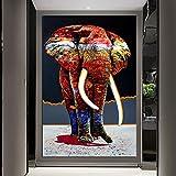 Geiqianjiumai Color Africano por Elefante Animal Salvaje Cazador del Arco Iris Lienzo decoración gráfica del Dormitorio Pintura sin Marco 30x45cm