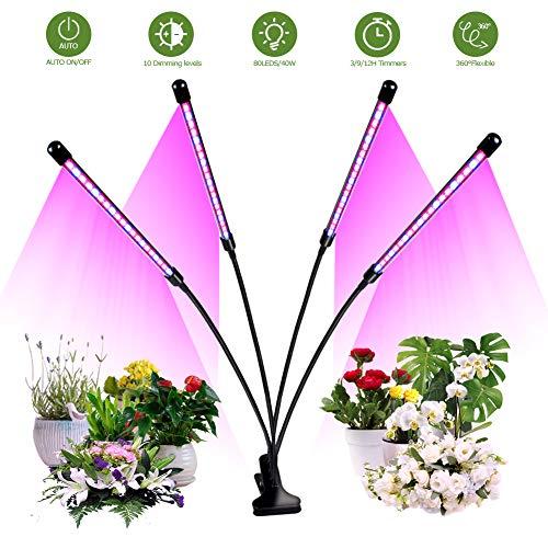 CHAIRLIN Pflanzenbeleuchtung Pflanzenlampe 40W Pflanzenlicht Pflanzenleuchte Blumenlampe mit 4 Heads, 3 Timer, 8 Dimmbare Helligkeiten mit Klemme 360° Einstellbar Kopf