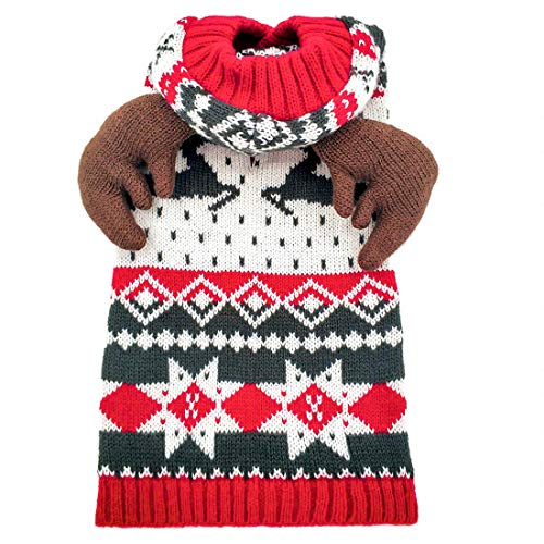 kyeese Holiday Dog Sweater Hoodie with Leash Hole Reindeer Snowflake Red Dogs Knitwear Pullover Pet Sweater Christmas