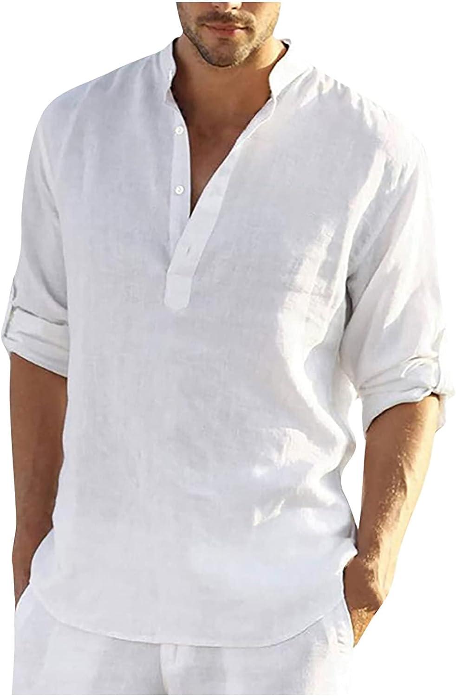 GBSELL Men's Cotton Linen Henley Shirt,Mens Casual Cotton Linen Shirts Stand-up Long Sleeve Solid Plain Beach T Shirts (XL, White)
