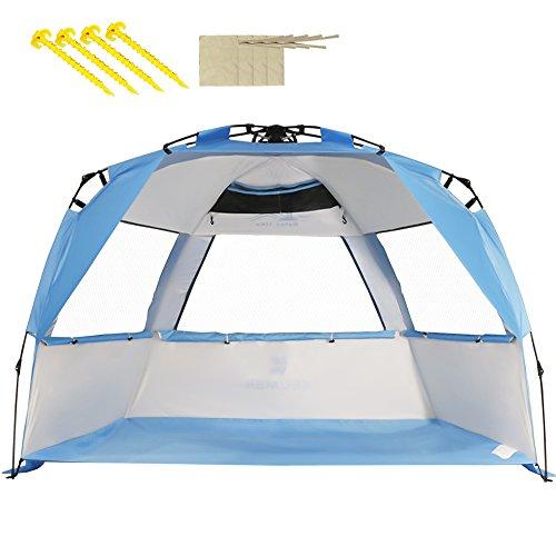 ZOMAKE Family Strandzelt, 2-4 Personen, Automatische Anti-UV UPF 50+ Strandunterstände, Sonnenschutz für Strandangeln im Freien (Silber Weiß & Blau)