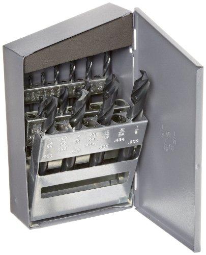 Chicago Latrobe 159 Series High-Speed Steel Short Length Drill Bit Set In Metal Case, Black Oxide Finish, 135 Degree Split Point, Inch, 15-piece, 1/16