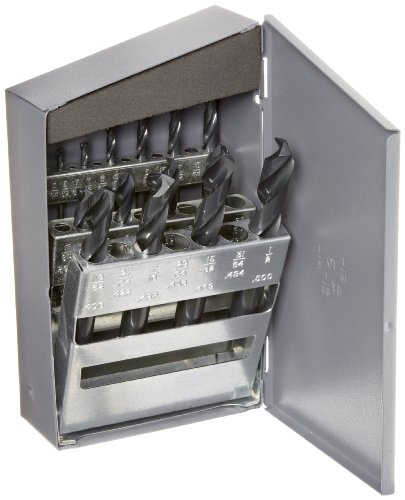 Chicago Latrobe 159 Series High-Speed Steel Short Length Drill Bit Set In Metal Case, Black Oxide Finish, 135 Degree Split Point, Inch, 15-piece, 1/16' - 1/2' in 1/32' increments