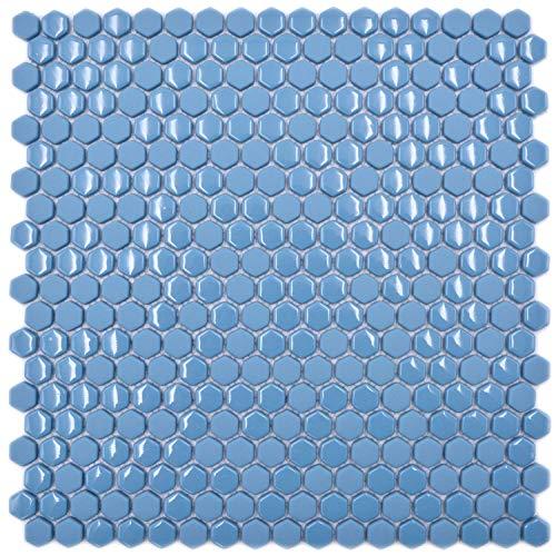 Glasmozaïek tegel Hexagon enamel mix blauw glanzend/mat voor wand badkamer toilet keuken tegelspiegel tegelverkleeding badkuip