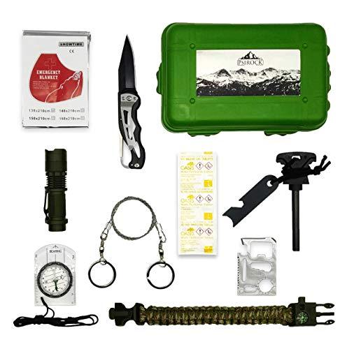 Kit de supervivencia profesional | Kit supervivencia montaña | Navaja multiusos pedernal supervivencia | Bushcraft Vivac Acampada | Manta térmica supervivencia Pulsera supervivencia Survival kit