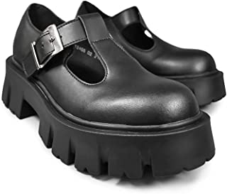 Altercore Zapatos Mujer Plataforma Negro Vegan Mary Jane Cuña