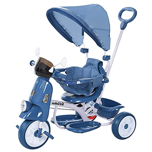 HOMCOM Triciclo Evolutivo Infantil Silla de Paseo Infantil con Función de Luz y Música Barra de Seguridad y Toldo Retráctil Asiento Giratorio 360° 93x51x94 cm Azul