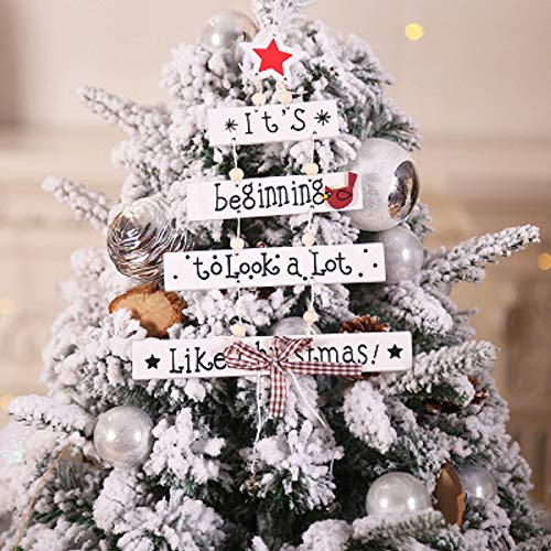 VARWANEO Christmas Wooden Sign Ornaments Home Cute Letter Wooden Christmas Tree Ornaments