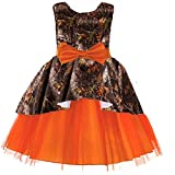 DINGZAN Puffy Tulle and Camo Flower Girl Pageant Dress Little Bridesmaid Gowns Orange Child 9
