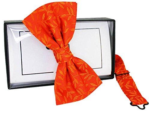 David Van Hagen Cravate en soie jacquard floral orange - déjà- nouée de