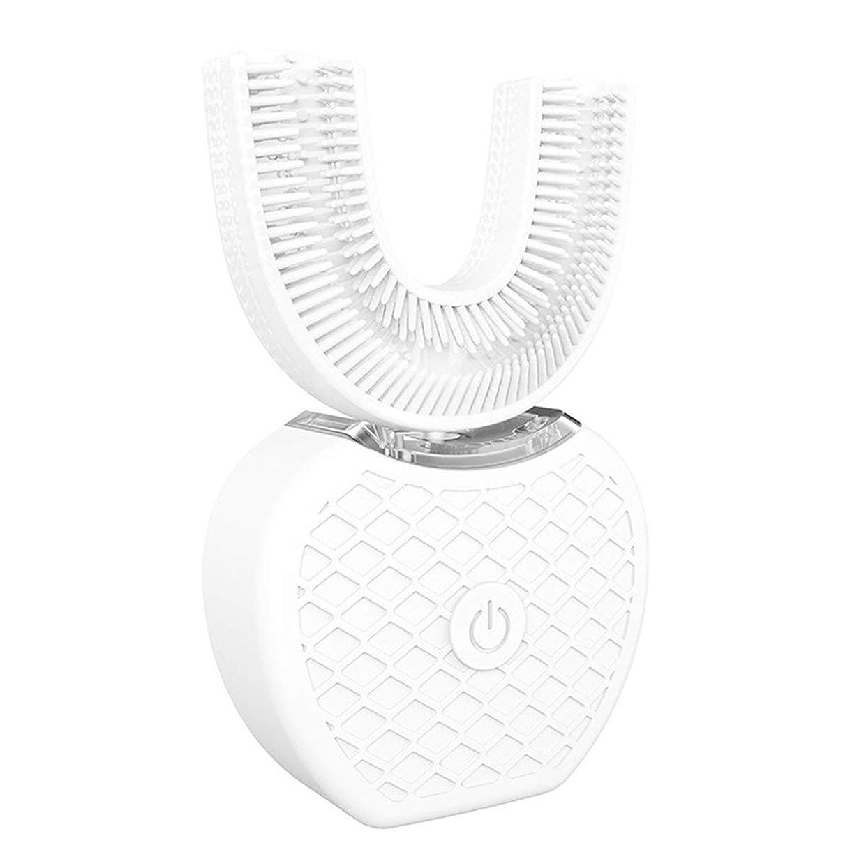 全国ビスケット傾斜360°ワイヤレス充電怠惰な自動ソニックシリコーン電動歯ブラシ - ホワイト