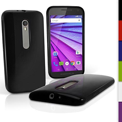 iGadgitz U3986 Sólido Negro Lustroso Funda Carcasa Gel TPU Compatible con Motorola Moto G 3 ª Generación 2015 XT1540 Case Cover + Protector Pantalla