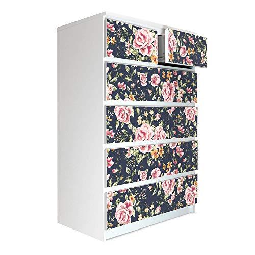 banjado Möbelaufkleber passend für IKEA Malm Kommode 6 Schubladen | Selbstklebende Möbelfolie | Sticker Tattoo perfekt für Wohnzimmer und Kinderzimmer | Klebefolie Motiv Rosen Auf Anthrazit