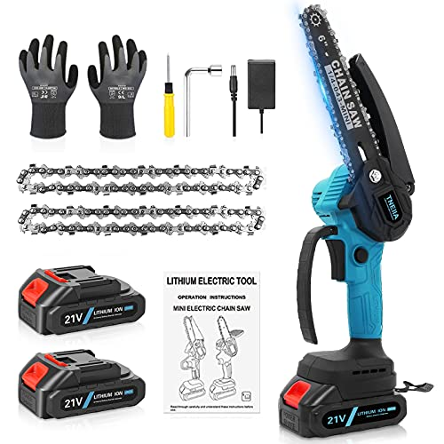 TNEIIA Mini Chainsaw, 6 Inch Cordless Electric Chainsaw with 2 Rechargeable...