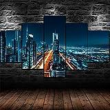 QIXINGFU Lienzo Mural - Póster Paisaje Urbano De Dubai Cerca- Imagen HD Impresión Artística Imagen Gráfica Decoración De Pared Abstracta, Regalo del Dia De La Madre 150 × 80Cm