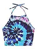 Romwe Women's Sexy Spiral Tie Dye Multicolor Print Backless Tie Halter Top Blue XL