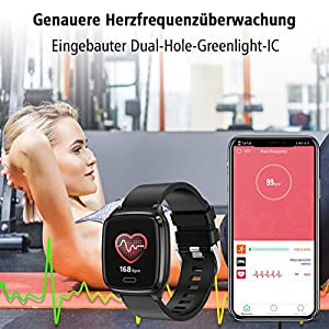 L8star Smartwatch, Fitness Tracker Uhr Touch Screen Fitness Armband Pulsuhr IP67 Wasserdicht Smartwatch Sportuhr mit Schrittzähler Pulsuhren Stoppuhr für Damen Herren Smart Watch für iOS Android