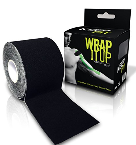 KeepFit Gear Kinesiology Tape for Athlete or Therapeutic with E-Taping Guide Wrap (Black, 2 Inch. by 16.4 feet)