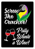 YASMINE HANCOCK Polly Wants A Wine Metall Plaque Zinn Logo Poster Wand Kunst Cafe Club Bar...