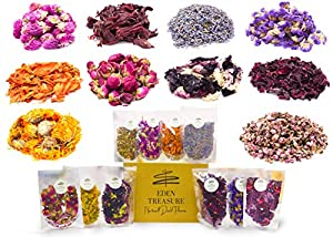 200g Dried Flowers -Set of 10 Varieties Organic Fresh Scent   Dry Petals for Soap, Candle, Lip Gloss, Witchcraft Spells, Resin Jewelry, Potpourri   Bulk of Decor and Art Ideas with Rose and Lavender