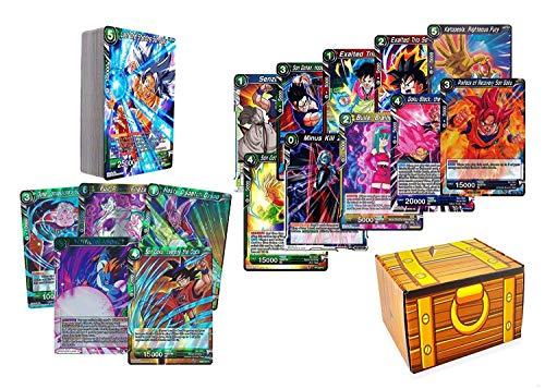 50 Dragon Ball Super Card Lot Featuring a Random Goku Character Card! Includes a Golden Groundhog Treasure Box!