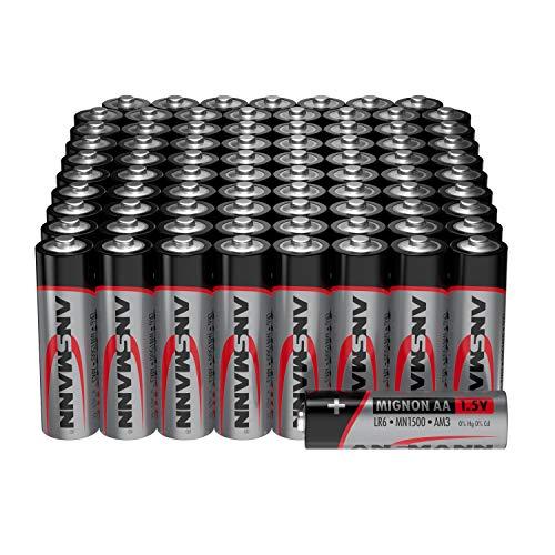 ANSMANN Batterien AA Alkaline Größe LR6 - AA Batterie für Lichterkette (80 Stück Vorratspack) Design kann abweichen