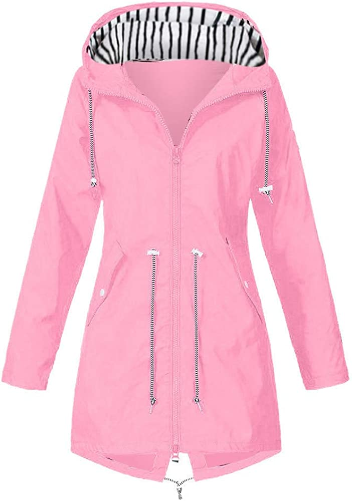 VEKDONE Oversized Rain Jackets Womens Waterproof Hooded Raincoat Lightweight Trench Coats Active Outdoor Windbreaker
