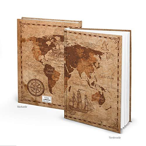 Logbuch-Verlag Cuaderno XXL en blanco, DIN A4, tapa dura, libro vintage, mapa del mundo, mapa del mundo grande sobre antiguo