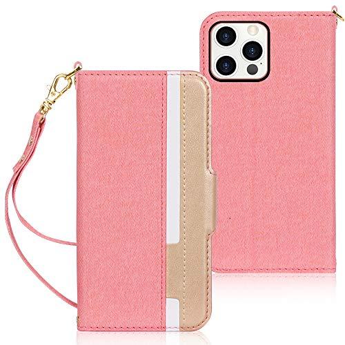 Fyy Coque pour iPhone 12 Pro Max - En cuir synthétique de qualité supérieure - Ultra fine - Avec porte-cartes, dragonne - Rose