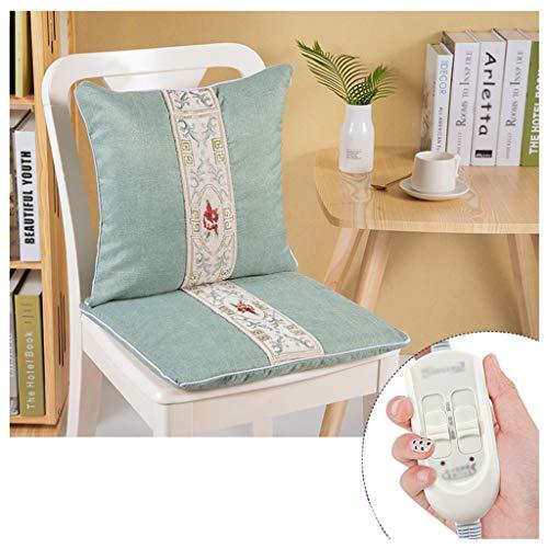 OCYE Zacht katoen en linnen Verwarmd zitkussen met thermostaat, snelle verwarming, compact, voor bureaustoelen, autostoelen, rolstoelen