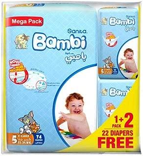 Sanita Bambi Baby Diaper Mega pack, X-Large,13-25kg, (74+22 free) Count