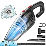 Handheld Vacuum Cordless Rechargeable,VEAZOR 9000PA Portable Handheld Vacuum Cleaner Wet&Dry with Reusable Stainless Steel,Powerful Suction Lightweight Mini Hand Car Vac for Pet Hair Home Cleaning