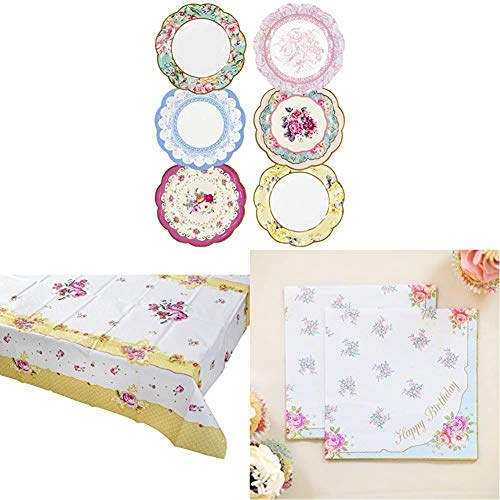Talking Tables Truly Scrumptious Afternoon Tea Party Pretty Paper Plates, Floral Tablecover, Floral Paper Napkins