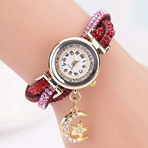 YP Mujer Reloj de Moda Mujer con Diamante,Reloj de Mujer con Colgante de Estrellas y Luna Reloj de Pulsera Cuerda Pulsera de Cuarzo del decoración,adaptar a Distintos Anchos de muñeca,Rojo