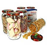Van Well - Set di 6 vasetti da conserva, 1062 ml, con coperchio To82, motivo frutta Libro di ricette per vasetti per frutta e marmellata