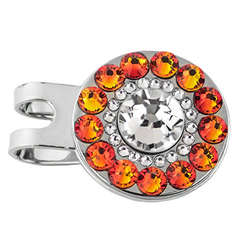 Girls Golf Bling Swarovski Crystal Golf Ball Markers with Magnetic Hat Clip - Premium Golf Gifts for Women (Crystal Point)