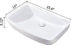 Hotis White Round Above Counter Porcelain Ceramic Bathroom Countertop Bowl Lavatory Vanity Vessel Sink