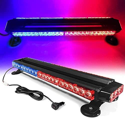 Luz de techo de coche 30 LED 30W 7 patrones de destello Luz estroboscópica de advertencia Luz de emergencia de techo de coche con base magnética para remolque de camión de vehículo de coche de 12V 24V