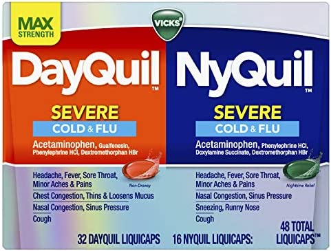 Vicks DayQuil and NyQuil Severe, Cough, Cold, Flu, Sore Throat, Fever, and Congestion Day and Night Relief, Maximum Strength, Green & Red, 48 Count (32 DayQuil + 16 NyQuil)