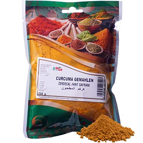 Arba Gewürze - Kurkuma (gemahlen) 250g - Kurkuma-Pulver zum Würzen & Färben von Speisen, zum Kochen & Backen, mild-würzig & farbintensiv, fein gemahlen aus der Kurkuma-Wurzel, Premium-Gewürz (250g)