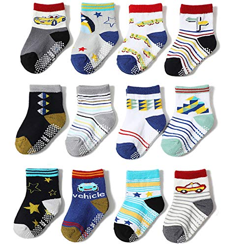 2020 Baby Boys Girls Anti Slip Socks Cartoon Children's Socks, Indoor Non-Slip Floor Socks, 12 Pairs Cosy Socks Slipper Socks,S